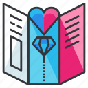 brochure, document, heart, honeymoon, marriage, paper, relationship icon