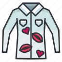 cheating, heart, kiss, lips, love, relationship, shirt icon