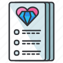 checklist, document, heart, list, love, paper, relationship icon
