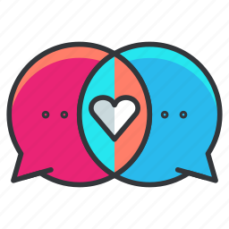 chat, communication, conversation, heart, love, relationship, text icon