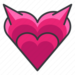 devil, evil, heart, love, relationship icon