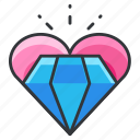 diamond, heart, jewel, love, relationship icon