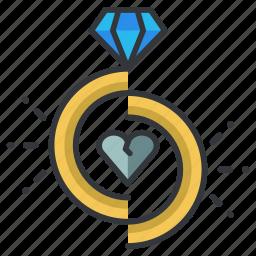 breakup, diamond, divorce, heart, love, relationship, ring icon