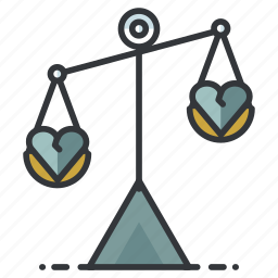 breakup, divorce, heart, justice, love, relationship, scales icon