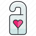 door, heart, hotel, love, relationship, sign icon