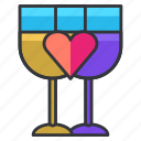 beverage, drinks, glass, heart, love, relationship icon