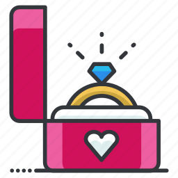 engagement, heart, love, proposal, relationship, ring icon