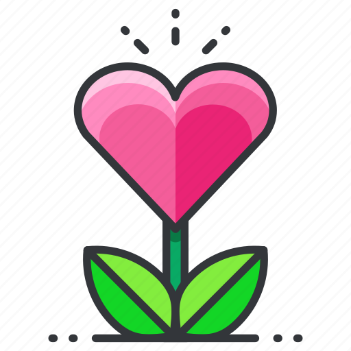 grow, heart, love, plant, relationship icon