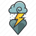 cloud, heart, heartache, love, relationship, storm icon