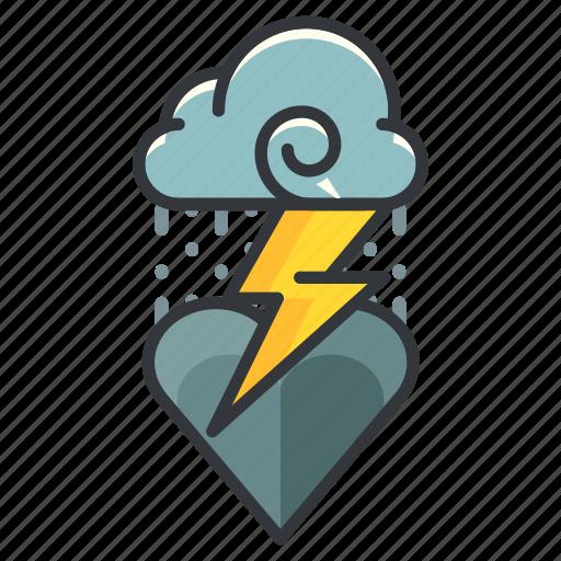 cloud, heart, heartache, love, relationship, storm icon