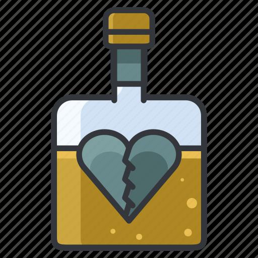 depression, drinking, heart, heartbreak, love, relationship icon