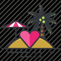 heart, honeymoon, island, love, parasol, relationship, tree icon