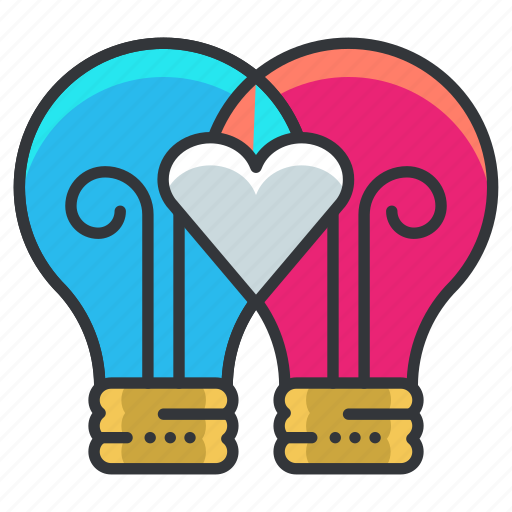 heart, idea, lightbulbs, love, relationship, thought icon