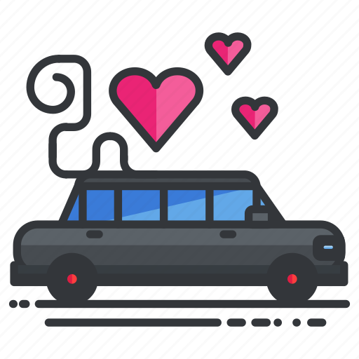 car, heart, limousine, love, transport, transportation, vehicle icon