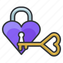 heart, key, lock, love, relationship, safety, security icon