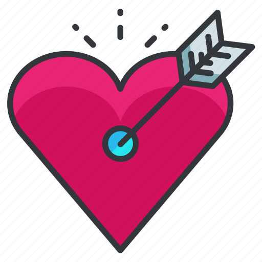 arrow, heart, love, relationship, target icon