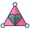 breakup, heartache, love, relationship, triangle icon