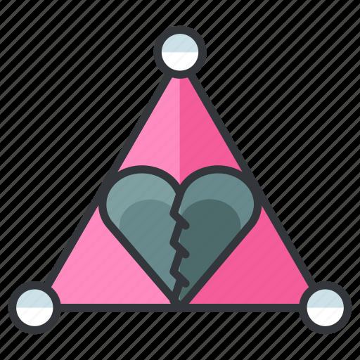 breakup, heartache, love, relationship, triangle icon