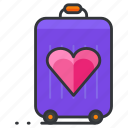 baggage, heart, love, luggage, relationship, travel icon