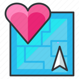 heart, location, map, navigation, relationship icon