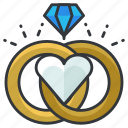 diamond, love, marriage, relationship, ring, rings icon