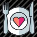 date, dinner, fork, knife, meal, plate