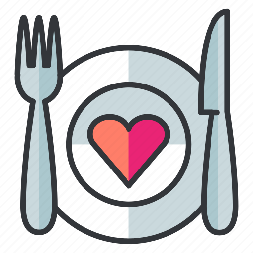 date, dinner, fork, knife, meal, plate icon