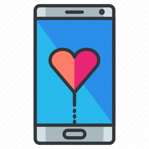 communication, heart, love, mobile, phone, relationship icon