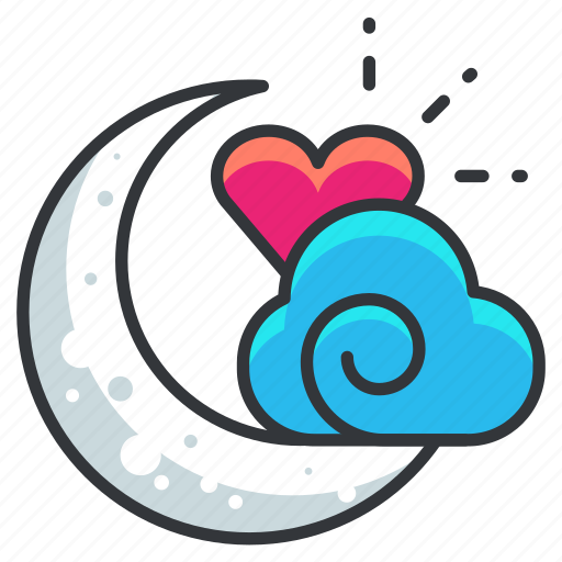 cloud, heart, love, moon, night, relationship icon