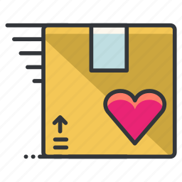 box, delivery, heart, love, package, relationship icon