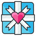 box, gift, heart, love, present, relationship icon