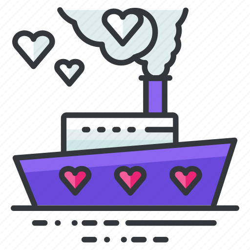 boat, heart, love, relationship, ship, transportation, travel icon