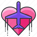 aeroplane, airplane, heart, honeymoon, love, plane, travel icon