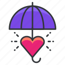 care, heart, love, relationships, umbrella icon