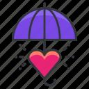 care, heart, love, relationships, umbrella icon