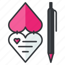 card, heart, invitation, pen, rlove, write icon