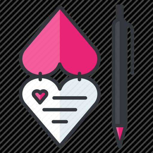card, heart, invitation, pen, rlove, write icon
