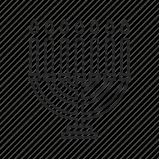candle, menorah, religion icon