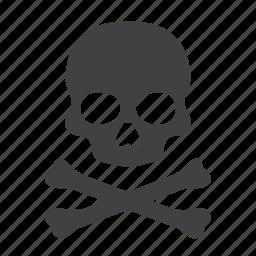 crossbone, danger, death, pirate, poison, skeleton, skull icon