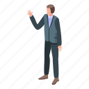 business, cartoon, hi, isometric, manager, office, say icon