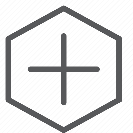 add, append, create, hexagon, new, plus, positive icon