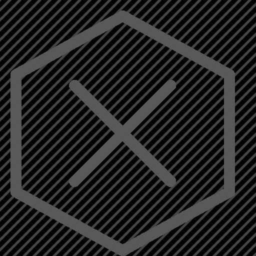 cancel, close, delete, discard, erase, hexagon, remove icon