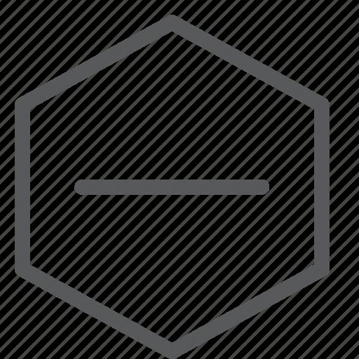 delete, hexagon, minimise, minus, reduce, remove, subtract icon
