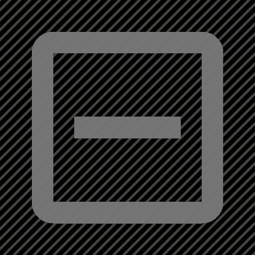 delete, minimize, minus, negative, reduce, remove, square, subtract icon