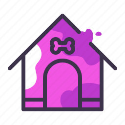 dog, doghouse, home, house, outside, pet icon