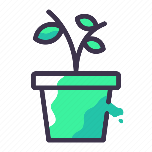 flower, growth, nature, plant, potted, soil icon
