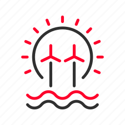 clean, energies, renewable, solar, sustainable, waves, wind icon