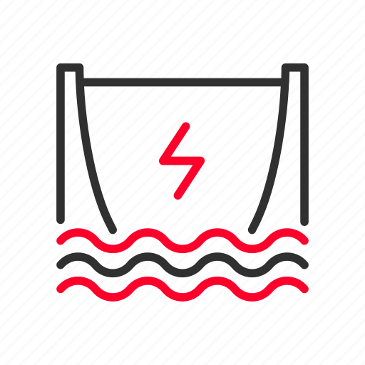 clean, dam, electricity, generating, hydroelectric, power, water icon