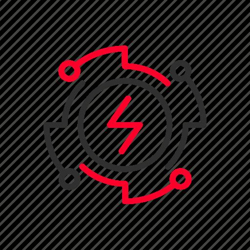 electromagnetic, energy, infinite, magnetic, power, pure, renewable icon