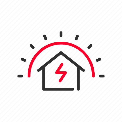electric, energy, heat, home, house, solar, sun icon